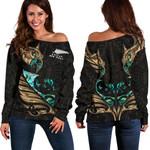 New Zealand Off Shoulder Sweater Manaia Paua Fern Wing - Gold K4 - 1st New Zealand