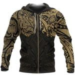 New Zealand Zip-Hoodie, Maori Polynesian Tattoo Gold TH4 - 1st New Zealand