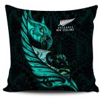 New Zealand Pillow Cover Manaia Paua Fern Wing - Turquoise K4 - 1st New Zealand