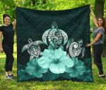 Polynesian Premium Quilt Turtle And Hibiscus Turquoise TH5 - 1st New Zealand