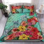 Turtle Polynesian Quilt Bed Set Hibiscus Colorful TH5 - 1st New Zealand