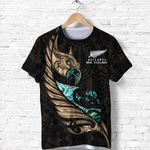 New Zealand T Shirt Manaia Paua Fern Wing - Gold K4 - 1st New Zealand