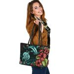 Shark And Turtle Small Leather Tote Hibiscus Turquoise TH5 - 1st New Zealand