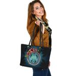 New Zealand Small Leather Tote, Polynesian Ohana Turtle Hibiscus Mother Son A24 - 1st New Zealand