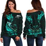 New Zealand Off Shoulder Sweater Manaia Paua Fern Wing - Turquoise K4 - 1st New Zealand