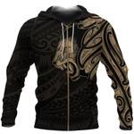 New Zealand Zip Up Hoodie, Maori Lion Tattoo Zipper Hoodie - Gold A74 - 1st New Zealand