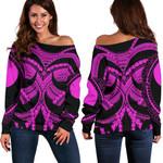Samoan Tattoo Women's Off Shoulder Sweater Purple TH4 - 1st New Zealand