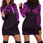 New Zealand Women's Hoodie Dress, Maori Polynesian Tattoo Purple TH4 - 1st New Zealand