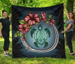 New Zealand Premium Quilt - Polynesian Ohana Turtle Hibiscus Mother Son A24 - 1st New Zealand