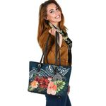 Turtle Polynesian Small Leather Tote Hibiscus Polynesian TH5 - 1st New Zealand