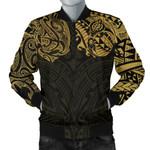 New Zealand Men's Bomber Jacket, Maori Polynesian Tattoo Gold TH4 - 1st New Zealand