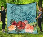 Polynesian Turtle And Hibiscus Premium Quilt TH5 - 1st New Zealand