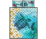 Polynesian Turtle Quilt Bed Set, Plumeria with Hibiscus Quilt And Pillow Cover K4 - 1st New Zealand
