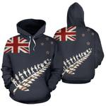 New Zealand Poppies Flag Hoodie, Anzac Silver Fern Pullover Hoodie K5 - 1st New Zealand