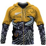 New Zealand Taranaki Zip Up Hoodie, Maori Bull Zipper Hoodie K4 - 1st New Zealand