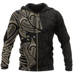 New Zealand Maori Zip Hoodie, Ta Moko Tattoo Full Zip Hoodie - Tan K5 - 1st New Zealand