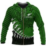 New Zealand Silver Fern Zip Up Hoodie, Maori Manaia Rugby Player Zipper Hoodie K4 - 1st New Zealand