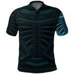 New Zealand Polo Shirt, Maori Samoan Polynesian Tattoo Golf Shirt - Blue K4 - 1st New Zealand