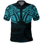 New Zealand Polo Shirt, Maori Tattoo Wolf Dragon Golf Shirt - Blue K4 - 1st New Zealand