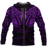 New Zealand Zip Up Hoodie, Maori Tattoo Wolf Dragon Zipper Hoodie - Purple K4 - 1st New Zealand