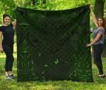 New Zealand Premium Quilt, Maori Gods Tumatauenga (God of War) - Green K4 - 1st New Zealand