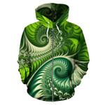 New Zealand Zip Up Hoodie, Koru Fern Zippper Hoodie - Abstract Style K4 - 1st New Zealand