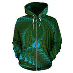 New Zealand Zip Up Hoodie, Koru Fern Zippper Hoodie - Abstract Style 02 K4 - 1st New Zealand