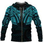 New Zealand Zip Up Hoodie, Maori Tattoo Wolf Dragon Zipper Hoodie - Blue K4 - 1st New Zealand
