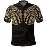 New Zealand Polo Shirt, Maori Tattoo Wolf Dragon Golf Shirt - Gold K4 - 1st New Zealand