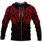New Zealand Zip Up Hoodie, Maori Tattoo Wolf Dragon Zipper Hoodie - Red K4 - 1st New Zealand