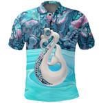 New Zealand Polo Shirt, Manaia Paua Shell Golf Shirts K5 - 1st New Zealand