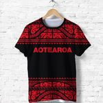 New Zealand Maori Shirt,  Aotearoa Silver Fern T Shirt - Red K4x - 1st New Zealand