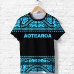 New Zealand Maori Shirt,  Aotearoa Silver Fern T Shirt - Blue K4x - 1st New Zealand