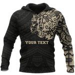 New Zealand Maori Hoodie, Maori Lion Tattoo Pullover Hoodie Tan - Customized K5 - 1st New Zealand