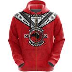 New Zealand Maori Zip Hoodie Waitangi Day - Red K54 - 1st New Zealand