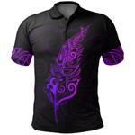New Zealand Polo Shirt, Light Silver Fern Golf Shirts - Purple K5 - 1st New Zealand