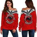 New Zealand Maori Off Shoulder Sweater Waitangi Day - Red K54 - 1st New Zealand