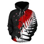 New Zealand Maori Zip Hoodie, Silver Fern Flag Full Zip Hoodie A05 - 1st New Zealand