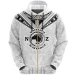 New Zealand Maori Zip Hoodie Waitangi Day - White K54 - 1st New Zealand