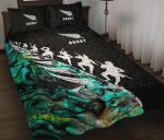 New Zealand Quilt Bed Set, Rugby Haka Fern Paua Shell Quilt And Pillow Cover K4 - 1st New Zealand