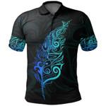New Zealand Polo Shirt, Light Silver Fern Golf Shirts - Blue K5 - 1st New Zealand
