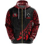 New Zealand Maori Lion Rugby Zip Hoodie - Red K5 - 1st New Zealand