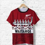 New Zealand Shirt, Waitangi Waka Flag T-Shirt K4 - 1st New Zealand