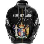 New Zealand Zip Hoodie, Coat Of Arms NZ Map Full Zip Hoodie K5 - 1st New Zealand