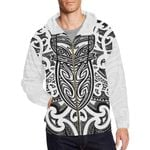 New Zealand Zip-Up Hoodie Maori Rugby - Black And White Th5 - 1st New Zealand
