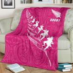 Rugby Haka Fern Premium Blanket  Pink K4 - 1st New Zealand