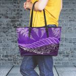 Purple Silver Fern Large Leather Tote Bag K7 - 1st New Zealand