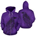 New Zealand Tui Bird Zip Up Hoodie Drawing Purple K4 - 1st New Zealand