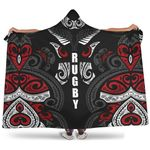 New Zealand Maori Rugby Silver Fern Hooded Blanket K7 - 1st New Zealand