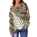 New Zealand Women's Off Shoulder Sweater Silver Fern Army Style Th5 - 1st New Zealand